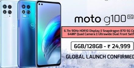 On march 25 Motorola is going to officially launched Moto G100 With Snapdragon 870 and Quad Cameras setup.